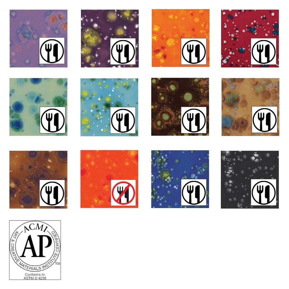 AMACO Crystaltex Glaze Classroom Pack 4, Assorted Colors, Set of 12 Pints