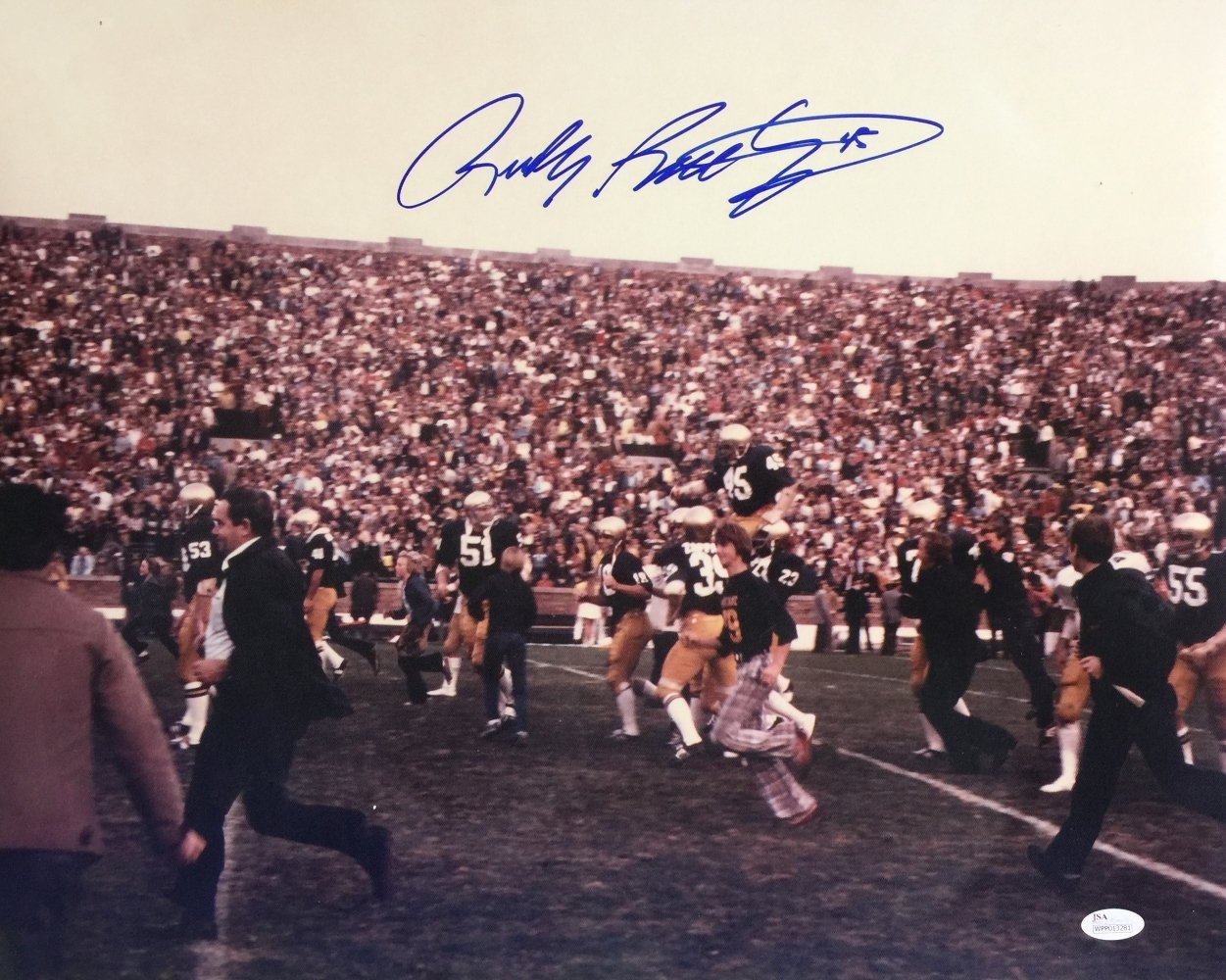 Rudy Ruettiger Signed 16x20 Notre Dame Carry Out Photo JSA ITP