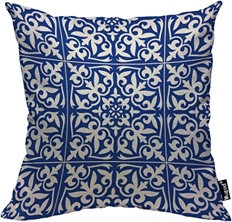Mugod Moroccan Tile Pillow Cover Ikat Damask Traditional Floral Cobalt Blue And White Decorative Throw Pillow Cases Cotton Linen Indoor Square Cushion Covers 18x18 Inch For Home Sofa Couch Home