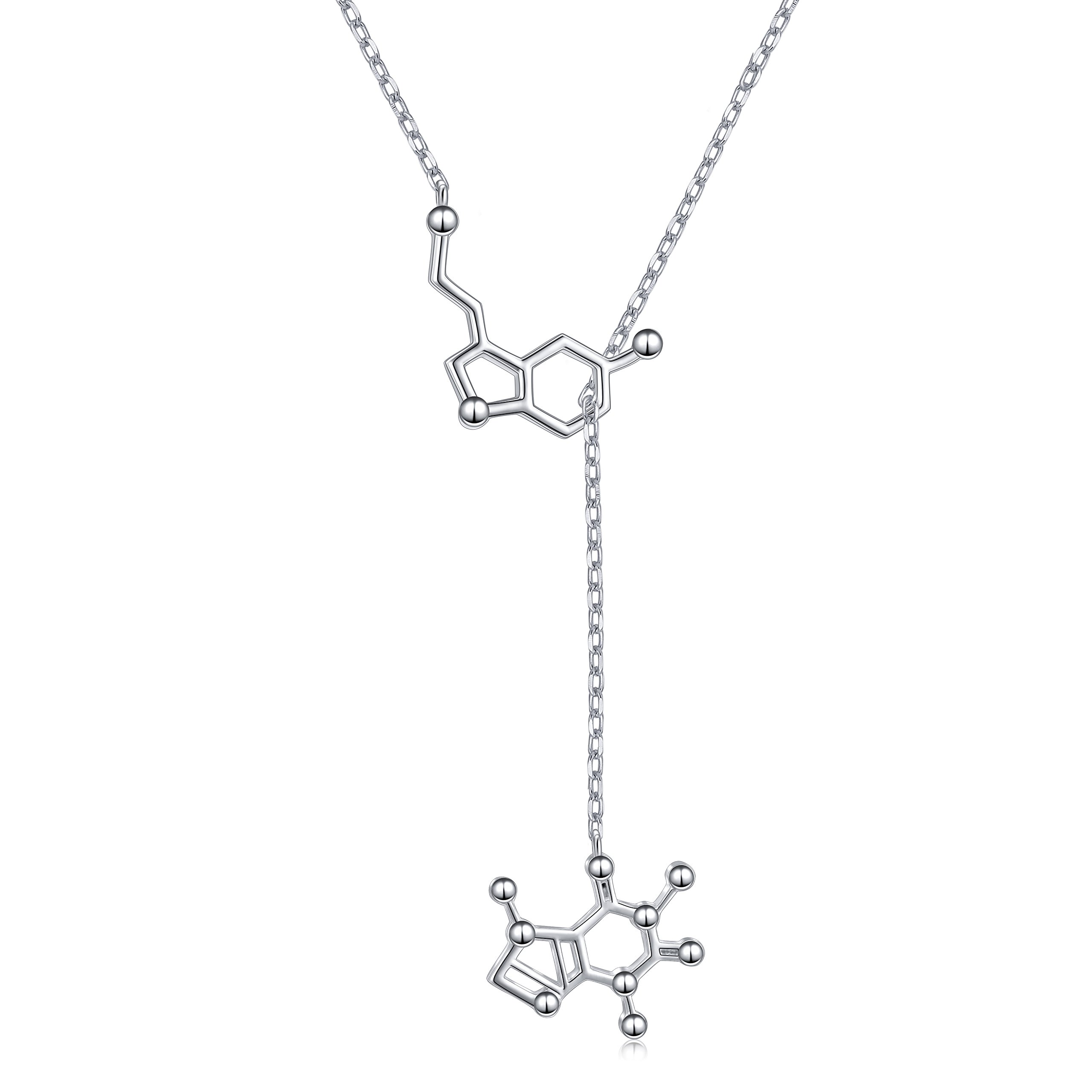 DAOSHANG Silver Molecule Serotonin and Caffeine Molecule Necklace for Science Lover and Coffee Lover