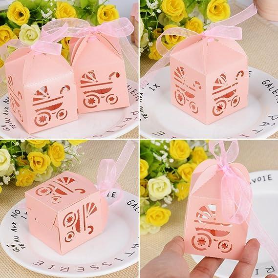 100piezas(4.9*4.9*5cm) Cajas Bautizo Caramelos Bombones Chuches Peladillas Regalo Recuerdo Boda Fiesta Cumpleaños con Cinta Organza (Color rosa): Amazon.es: ...