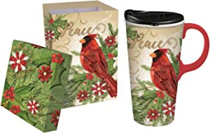 Cypress Home 17 OZ Ceramic Travel Cup, Peace Cardinal 4 x 5 x 7 Inches