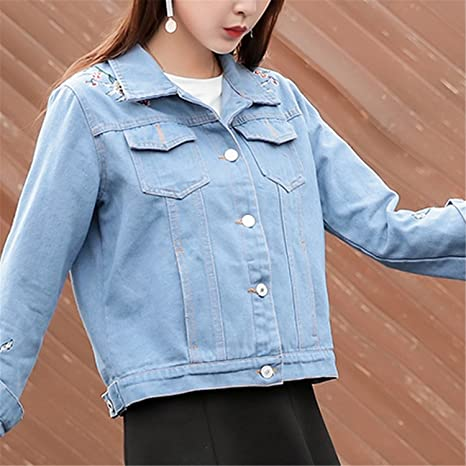 Henraly Women Autumn Jeans Jackets Female Long Sleeve Turn-down Collar Abrigos at Amazon Womens Coats Shop