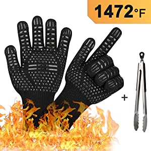 BBQ Grilling Gloves, 1472°F Extreme Heat Resistant Oven Gloves and Kitchen Tong (3-Piece Sets), Oven Mitts for Cooking Baking Grilling & Smoker, Non-Slip Textured Grip Pot Holders