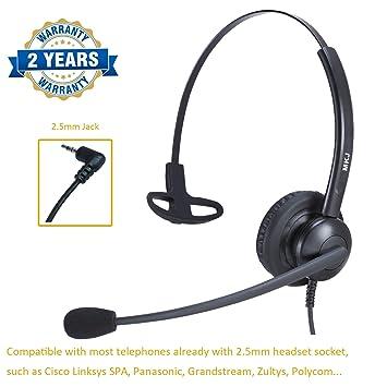 Auricular de Oficina de 2,5 mm con micrófono de cancelación de Ruido para teléfonos inalámbricos y Panasonic Grandstream Gigaset de Cisco Linksys SPA: Amazon.es: Electrónica