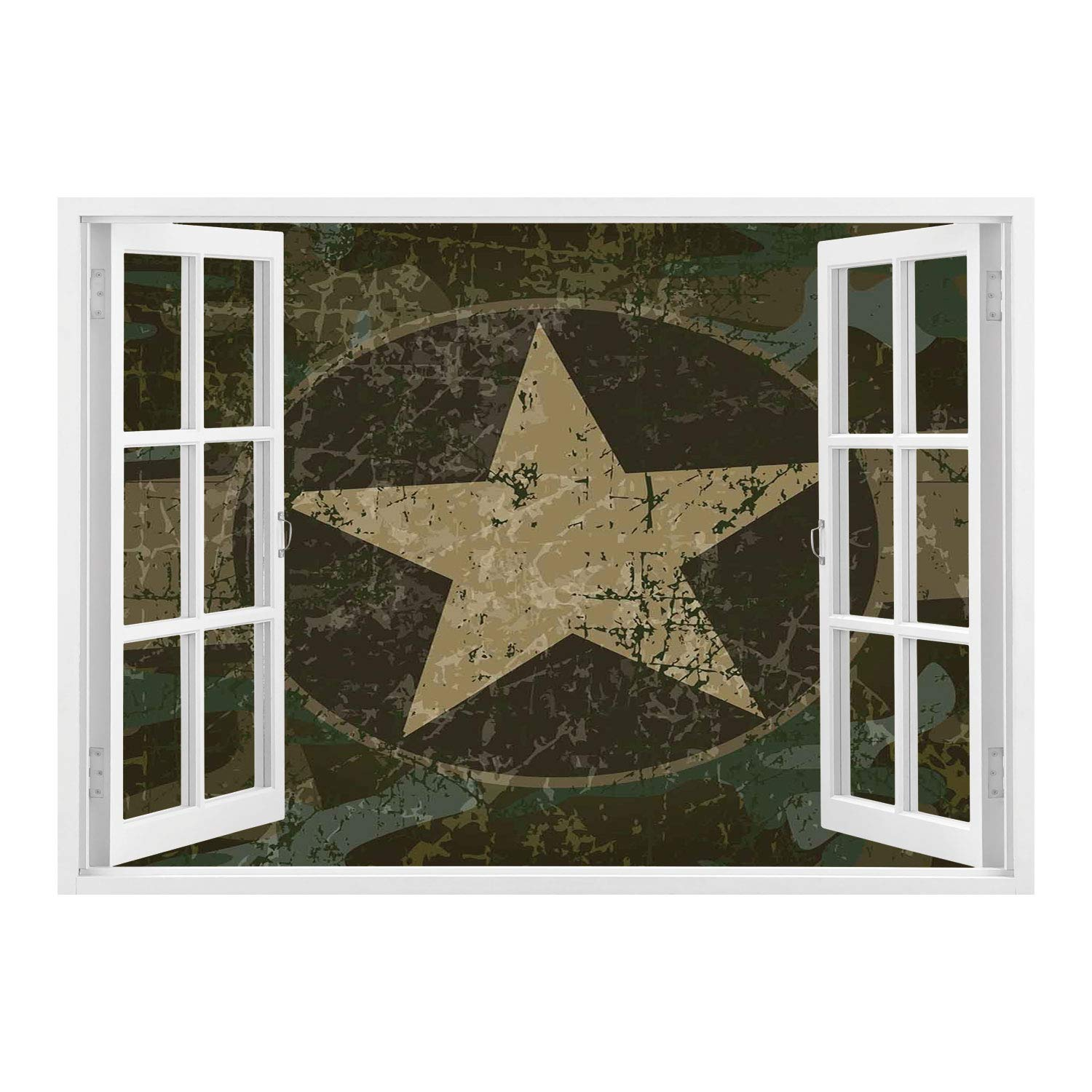 SCOCICI Wall Mural, Removable Sticker, Home Décor/Camo,Grunge Dusty Dirty Design with a Star in Circle Undercover War Theme,Army Green Beige Dark Brown/Wall Sticker Mural