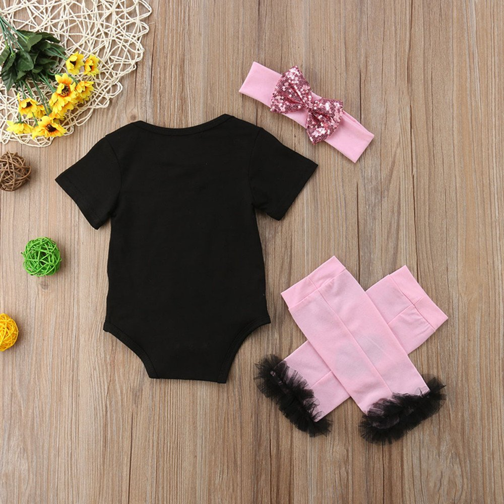 Newborn Baby Girl Short Sleeve Black Romper Bodysuit Onesie+Lip Print Tutu Leg Warmers+Headband Outfits Clothes Set