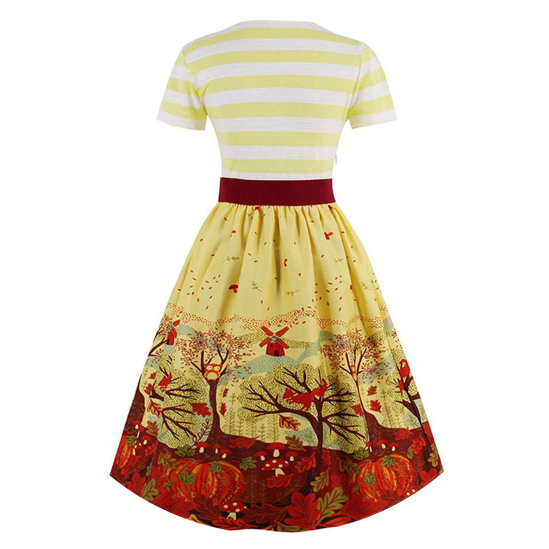 Vintage Summer Women Blue Striped Bowknot Party Dress Elegant V Neck Mid Waist Short Sleeve Dresses at Amazon Womens Clothing store: