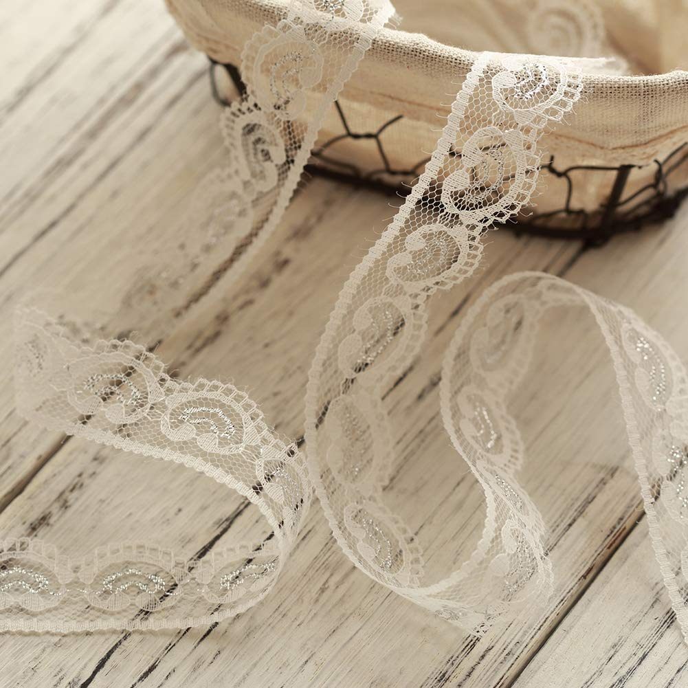 Voloker 32mm wide x 30 yards Vintage Style Lace Ribbon Trimming Bridal Wedding Scalloped Edge 47mm White/&Rainbow