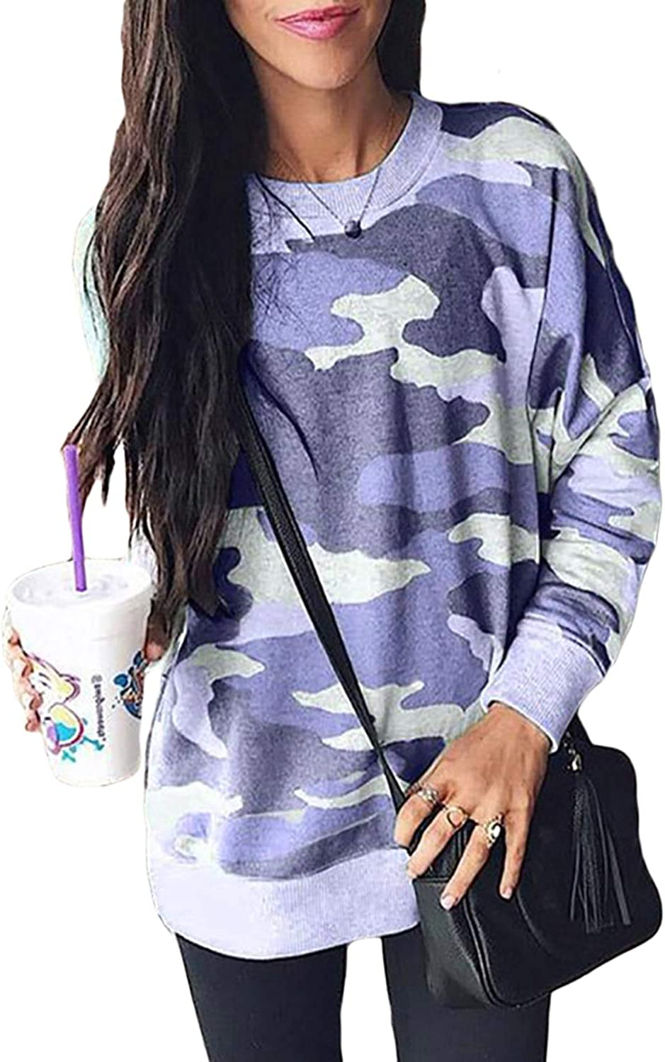 Sidefeel Women Long Sleeve Crewneck Pullover Camo Print Sweatshirt Jumper Top