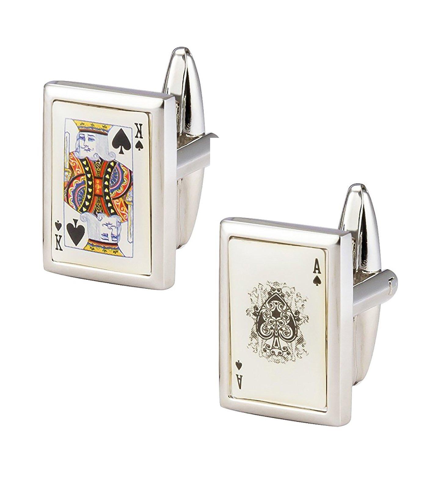 The Jewelbox Ace King Cards White Silver Rhodium Plated Brass Formal Shirt Blazer Suit Cufflinks Pair Men Gift Box