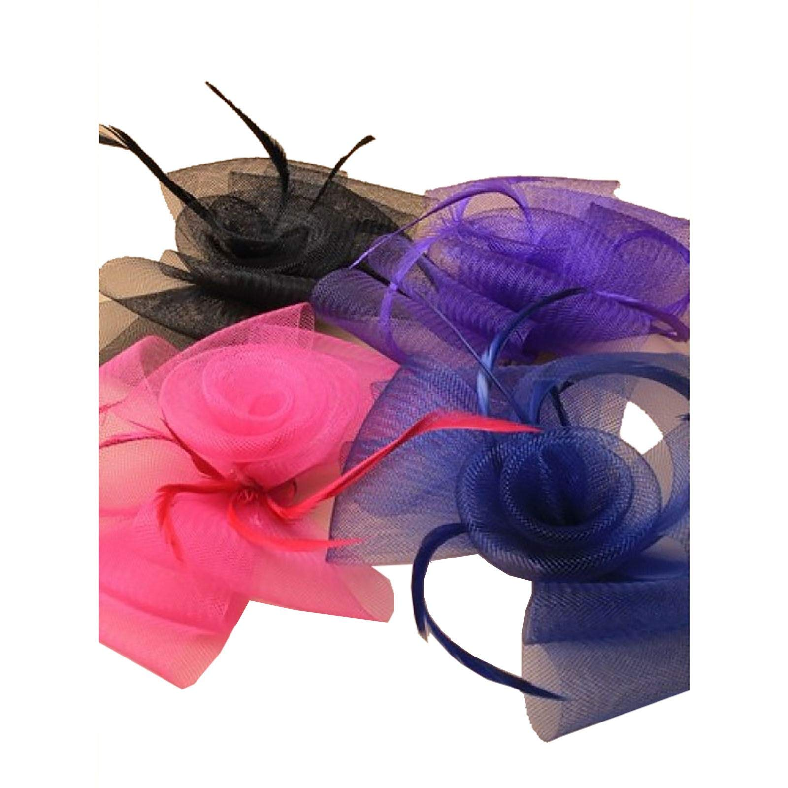 Rimi Hanger Assorted Loop Net Matching Feather Fascinator Clip 4 Pcs Fancy Dress Brooch Pin