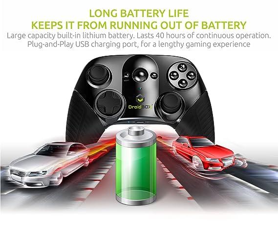 DroidBOX Play Gamepad - Bluetooth 3.0, batería de ion de litio recargable para Android y PC. Juegos y Emuladores con Dual Sticks, D-pad y 12 botones: ...