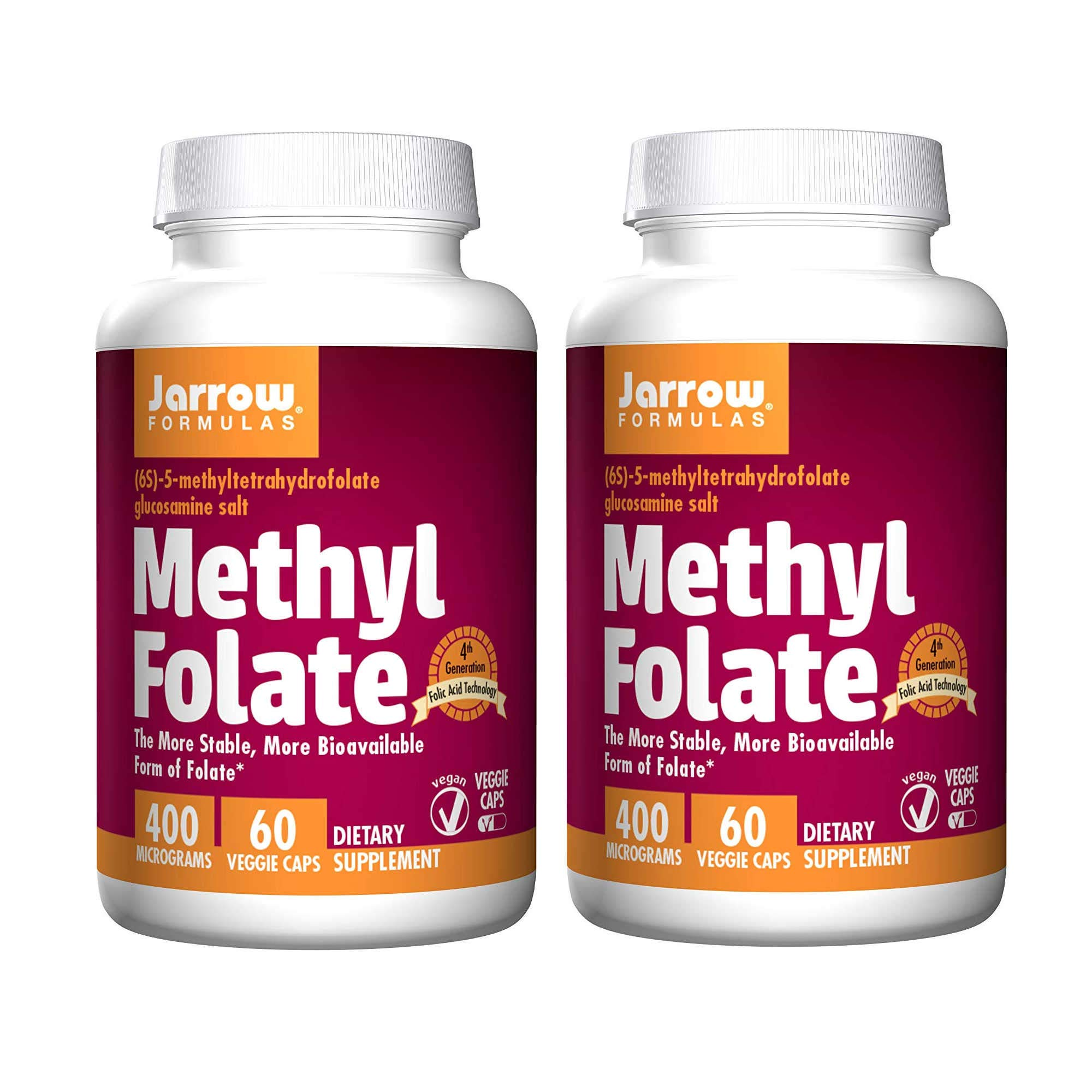 Jarrow Formulas Methyl Folate The Most Biologically Active Form of Folate 400 Micrograms - 100 Capsules (Pack of 2) by JARR0W