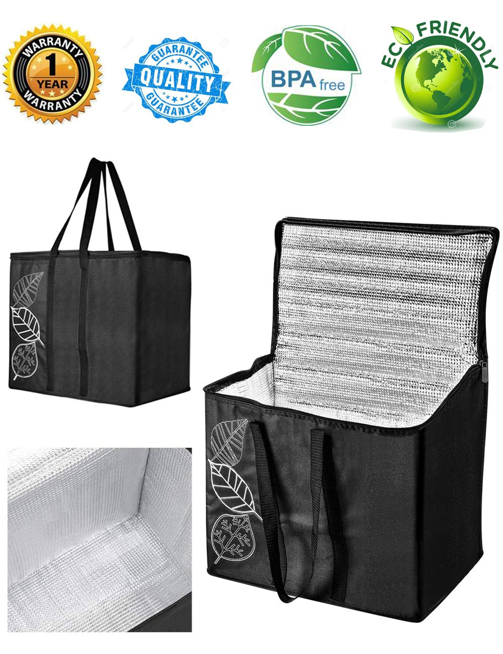 grocerybags coolerbag Insulated Food Delivery Grocery Bag (Set of 2) Collapsible Extra Large Reusable Shopping Tote Zipper TOP LID for Hot or Cold Food Reinforced - 600D Oxford Cloth Made - 32ounce
