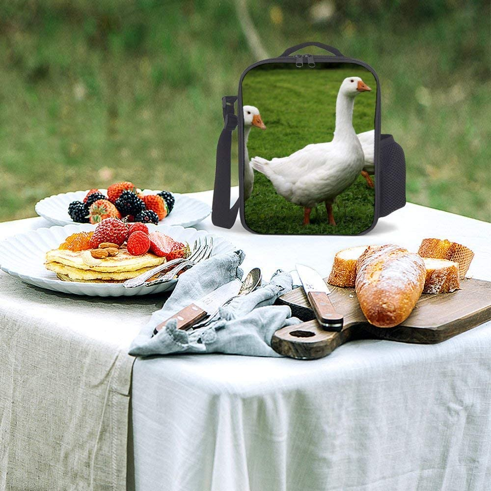 Portable Thermal Insulated Picnic Lunch Bag Food Handbag Lunch Box Shoulder Strap Hot Or Cold Groceries White Beak Goose Duck Water Bird Ducks Geese And Swans Grass