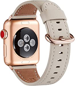 WFEAGL Compatible iWatch Band 42mm 44mm, Top Grain Leather Band with RoseGold Adapter(The Same as Series 5/4/3 with Gold Aluminum Case in Color)for iWatch SE & Series 6/5/4/3/2/1(IvoryWhite+RoseGold Adapter)