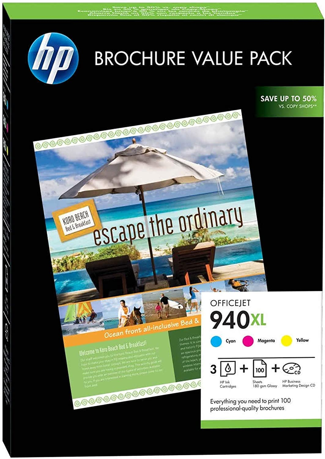 100 Sheets//210 x 297 mm HP CG898AE 940XL Officejet Brochure Value Pack Cyan//Magenta//Yellow Pack of 3