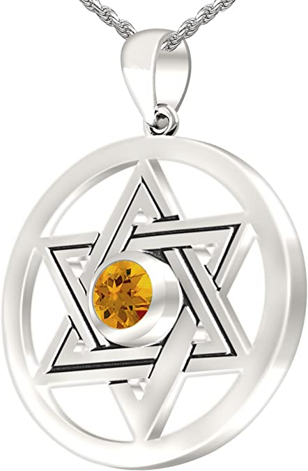 Sterling Silver Jewelry Pendants /& Charms Polished Star Citrine Pendant