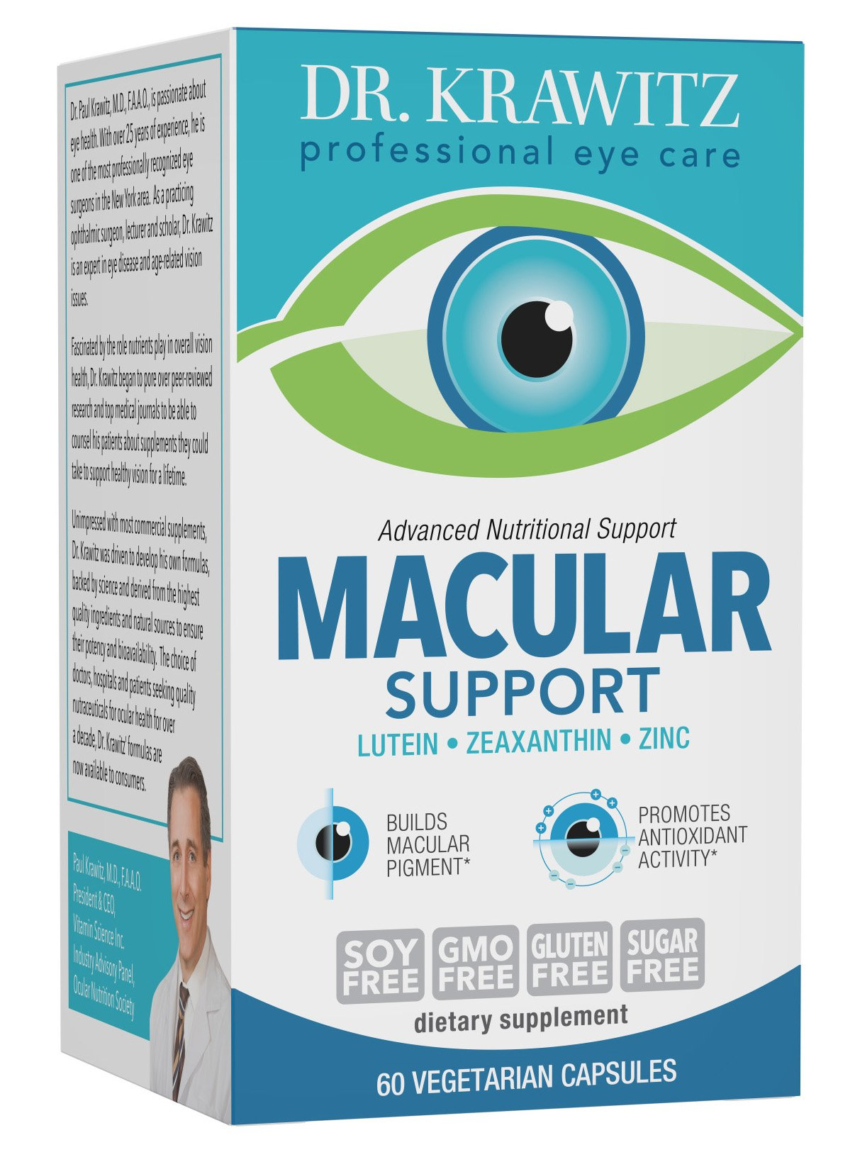 Dr. Krawitz AREDS 2 Macular Support Eye Vitamins - 60 veg caps