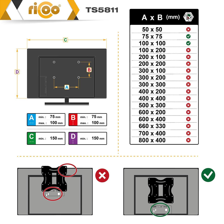 RICOO Soporte para 2 monitores PC TS5811 Pantalla Plana LED TFT Brazo orientable inclinable Soporte de Mesa Estante de Monitor Montante de Monitor para Mesa ...