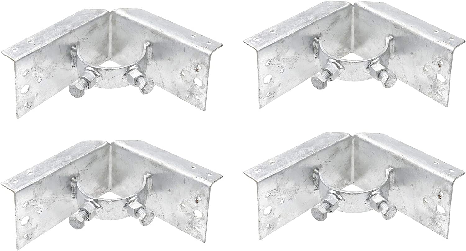 """Chain Link Fence 2 1/2"""" (2 3/8"""" OD) x 6"""" Wood to Steel Post Corner Adapter (Pack of 4)"""