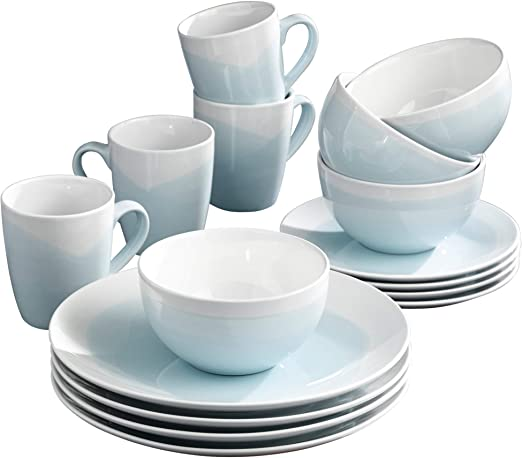 Kitchen Dining Set 16-Piece Dinnerware Plates Bowls Dishes Cup Round Turquoise