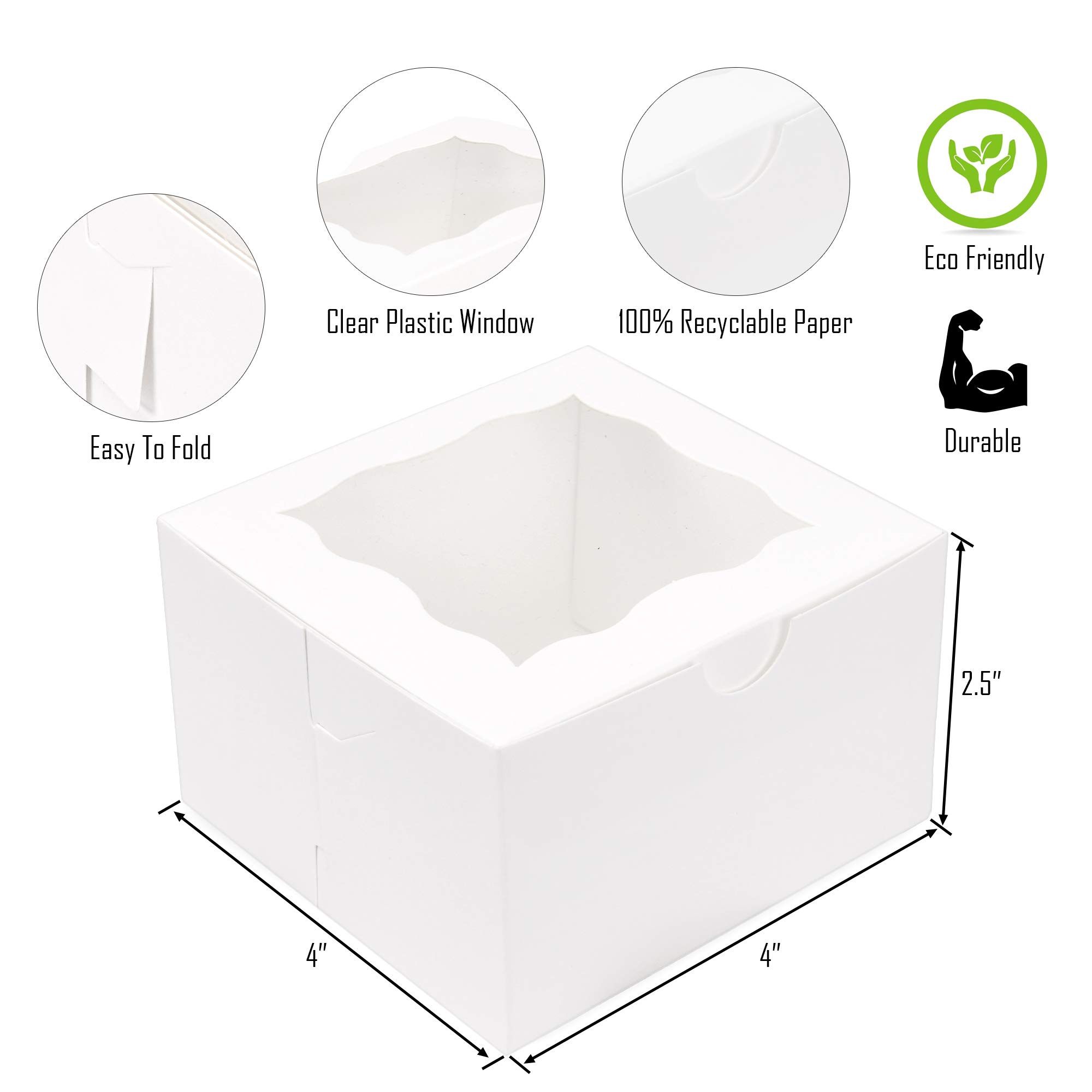 {Pack of 50} White Bakery Boxes with Window 4x4x2.5'' Cute Cardboard Gift Packaging Containers for Cookies, Cupcakes, Small Desserts, Pastry, Wedding Cake, Baby Showers, Donuts, Treats, Party Favors! by Surf City Supplies (Image #2)
