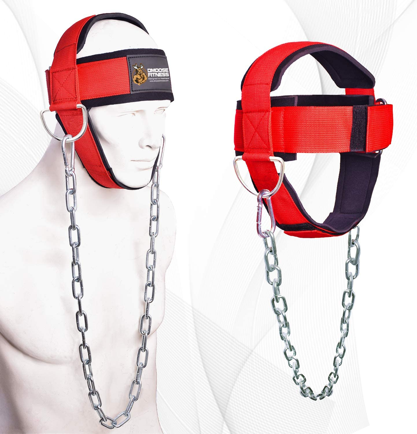 DMoose Fitness Neck Harness for Weight Lifting, Resistance Training, or Injury Recovery with Long Steel Chain, Improve Muscle Strength : Sports & Outdoors