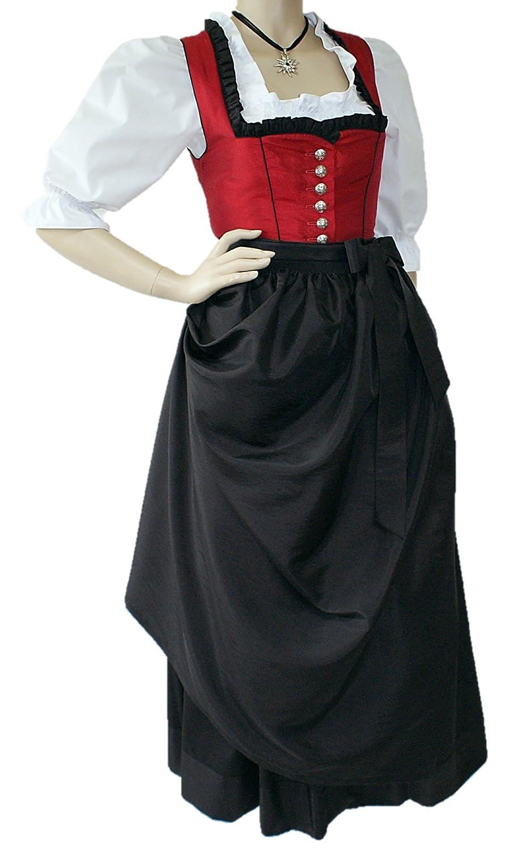32-48 Dirndl Festtracht Trachten-Kleid Trachtenkleid Dirndlkleid Ballkleid rot