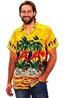 Original King Kameha | Funky Hawaiihemd | Herren | XS - 12XL | Kurzarm | Front-Tasche | Hawaii-Print | Papagei Strand Blumen | Gelb
