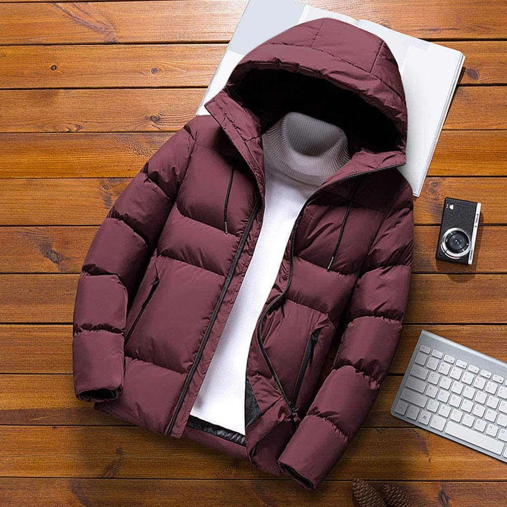 Mens Casual Solid Hooded Jacket Coat Mens Solid Color Hoodie Autumn Winter Plus Velvet Thick Warm Cotton Jacket M-4XL