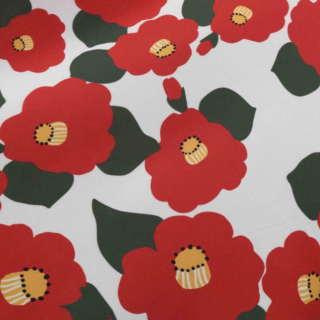 SALUCIA Damen Cocktail Kleid Elegant Rundhals Kurzarm Midi Rockabilly Kleider 1950er Retro Polka Dot//Blumen Druck Abendkleid Partykleid Tanzkleid Hochzeit