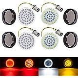 """Amazicha 2"""" LED Turn Signals , Bullet Style 1157 White Amber Front Turn Signal Bulb + 1157 Red Rear Turn Signal Light , 4 PCS"""