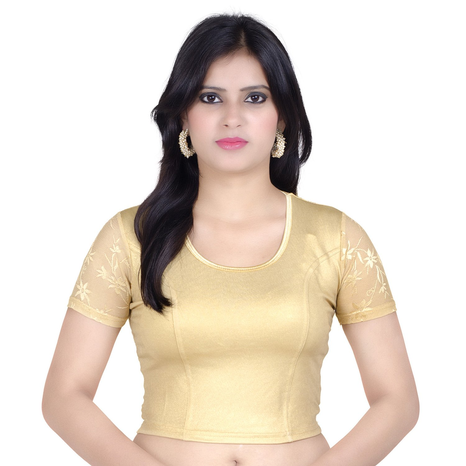 Chandrakala Women's Stretchable Readymade Yellow Saree Blouse Crop Top Choli (B102YEL)