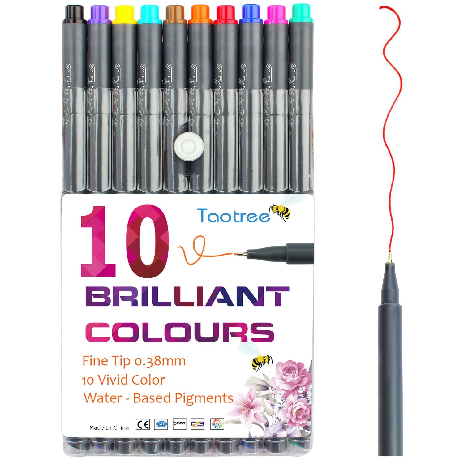 Taotree Fineliner Pens Coloured Set Fine Point 0.38mm in 10 Assorted Colours No Duplicates for Bullet Journal Artists Fine-Ink Drawings and Adult Colouring Books (10 Fineliner Pens)