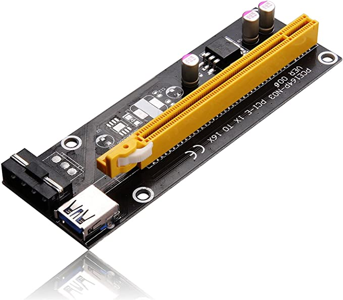 Lazmin Mini PCI-E to PCI Express 16x Extender Riser Adapter 4 Solid-state Capacitors with 6pin Interface With SATA Power Cord for Video Card Mining Compatible with all WINDOWS os