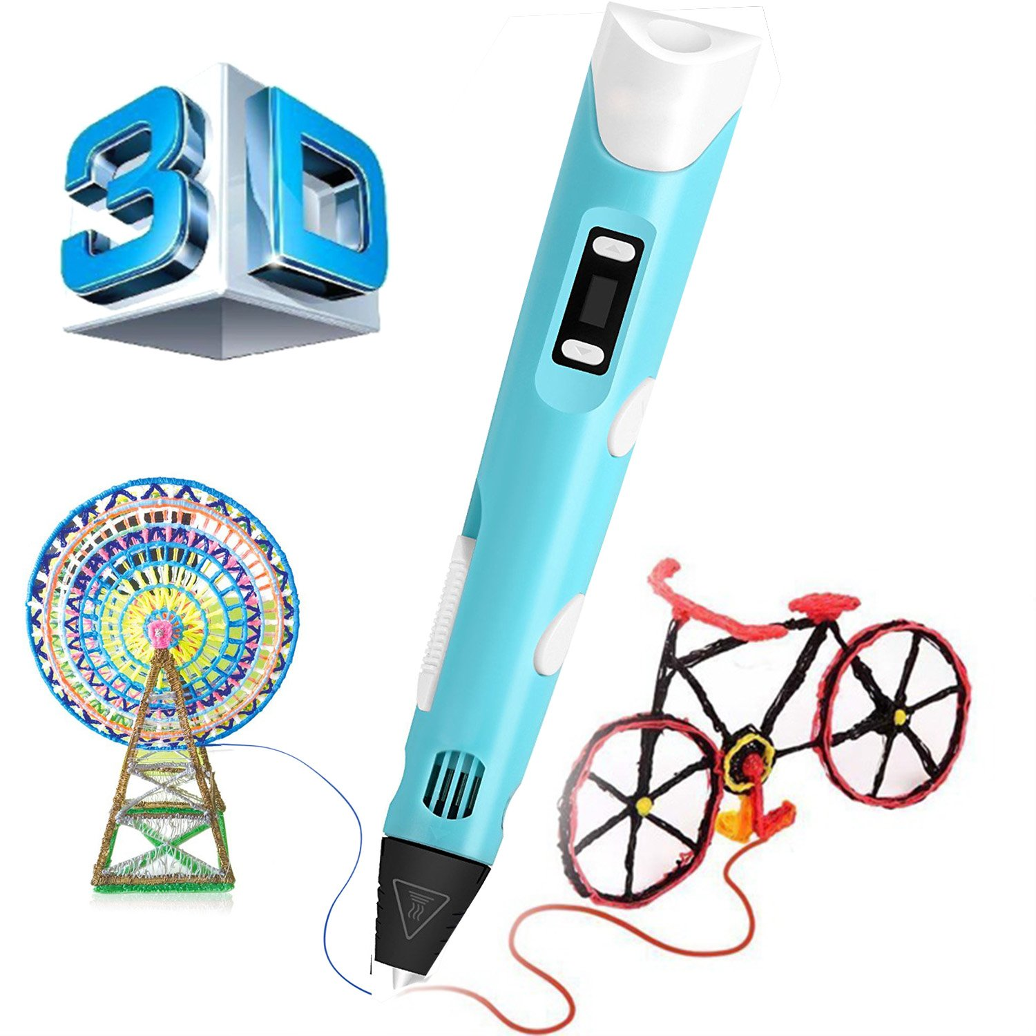3D Drawing Printing Pen with Filament Refills Upgrade 2.0 3D Pen for DIY Arts Crafts Making for Kids and Adults 3D Drawing Pen with 1.75mm PLA Filament Printing Pen with LED Display (Blue 3D Pen)