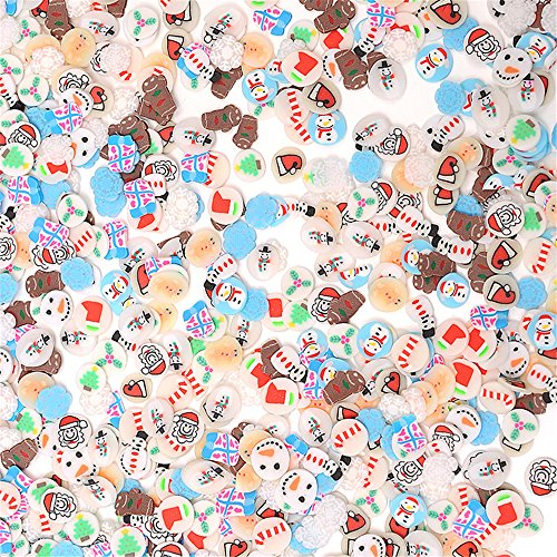 (FantasyDay 1000PCS 3D Nail Sticker Canes Sticks Mixed Holiday Christmas Snowman for Nail Art Tips Decoration Nails Stickers Rods Gel Tips - Charms Slices for Wedding/Party Decoration)