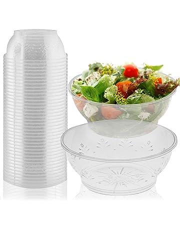 20 Cuencos Desechables Reutilizables Elegantes, 285ml - Bol de Plástico Resistente - Para Sopa,