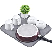 KK KINGRACKMicrofiber Dish Drying Mat,Reversible Fast-Drying Dish Draining Mat-Dishes, Glasses, Plates, Stemware…