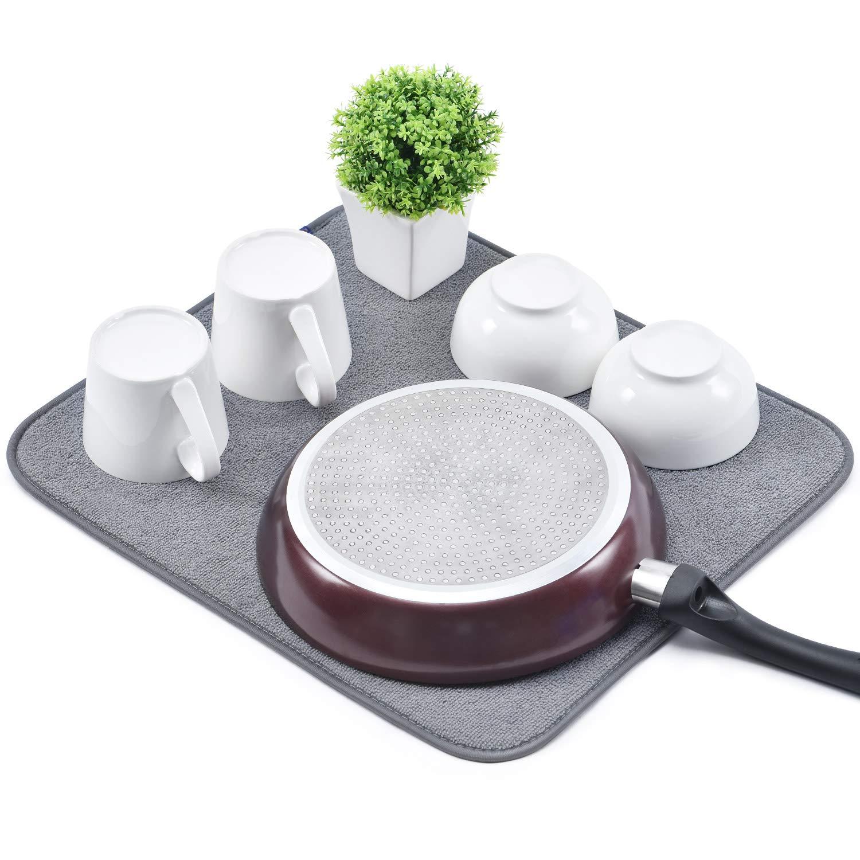 absorbente para platos Kingrack Alfombrilla de secado de platos de microfibra para cocina de Sec wkuk140508