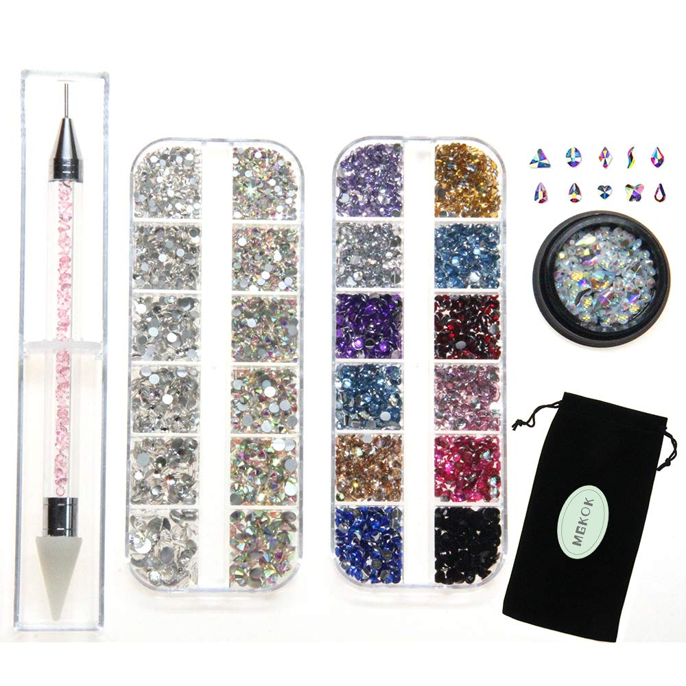 Rhinestone Jewel Pickup Tool,Crystal Studs Wax Pen,Flat Back Rhinestones 6 Size(2-5mm) with Multi Shapes Glass AB Rhinestones for Nails Decoration Crafts Face Art Clothes Shoes Bags DIY-3800 Pcs by MG by MGKOK