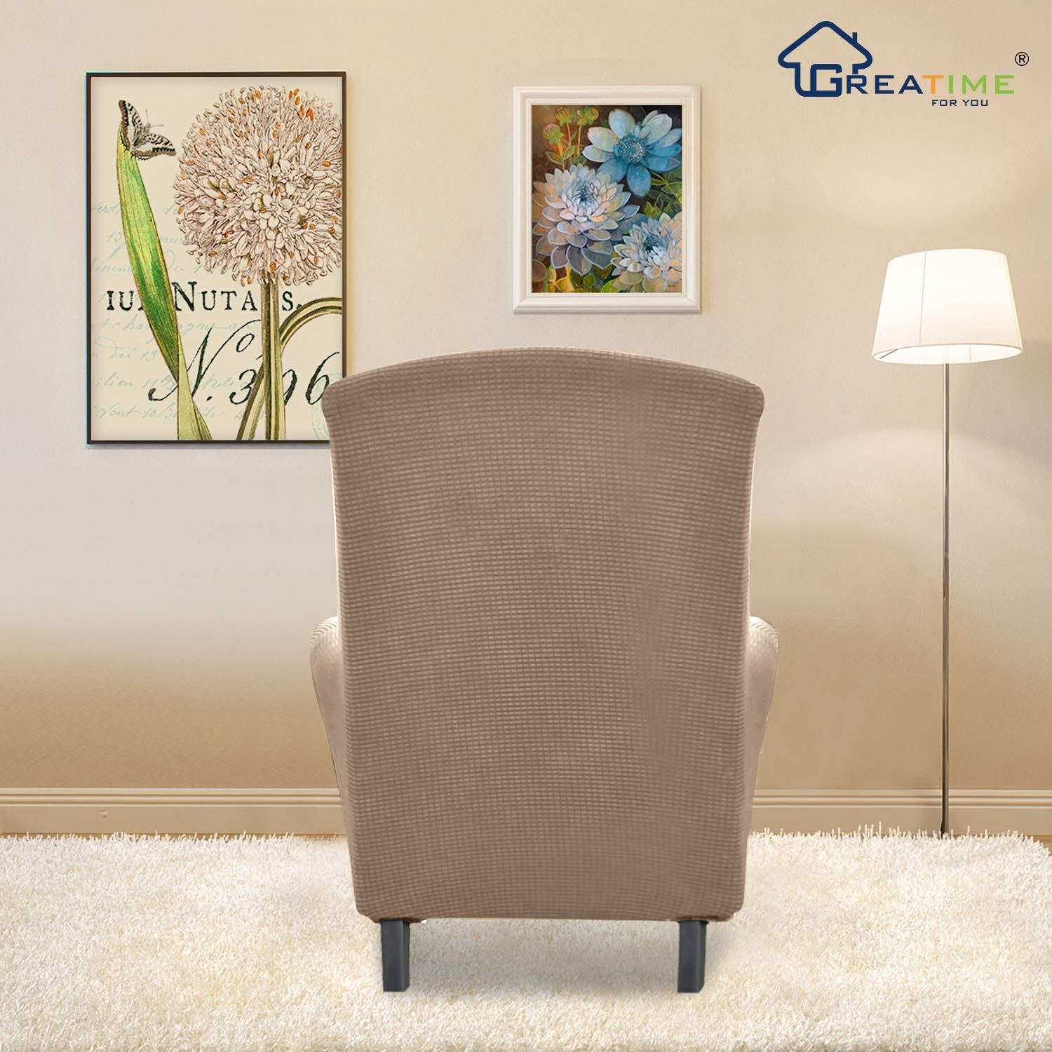 Chair,Camel Greatime Stretch Chair Sofa Slipcover 1-Piece Couch Sofa Cover Furniture Protector Soft with Elastic Bottom for Kids Spandex Jacquard Fabric Small Checks
