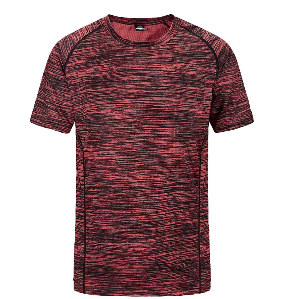 Cotton T Shirts,Men's New Summer Round Neck Loose Size Sports Fitness Short Sleeves Fast Dry Top,Women's Novelty Clothing,Red,3XL