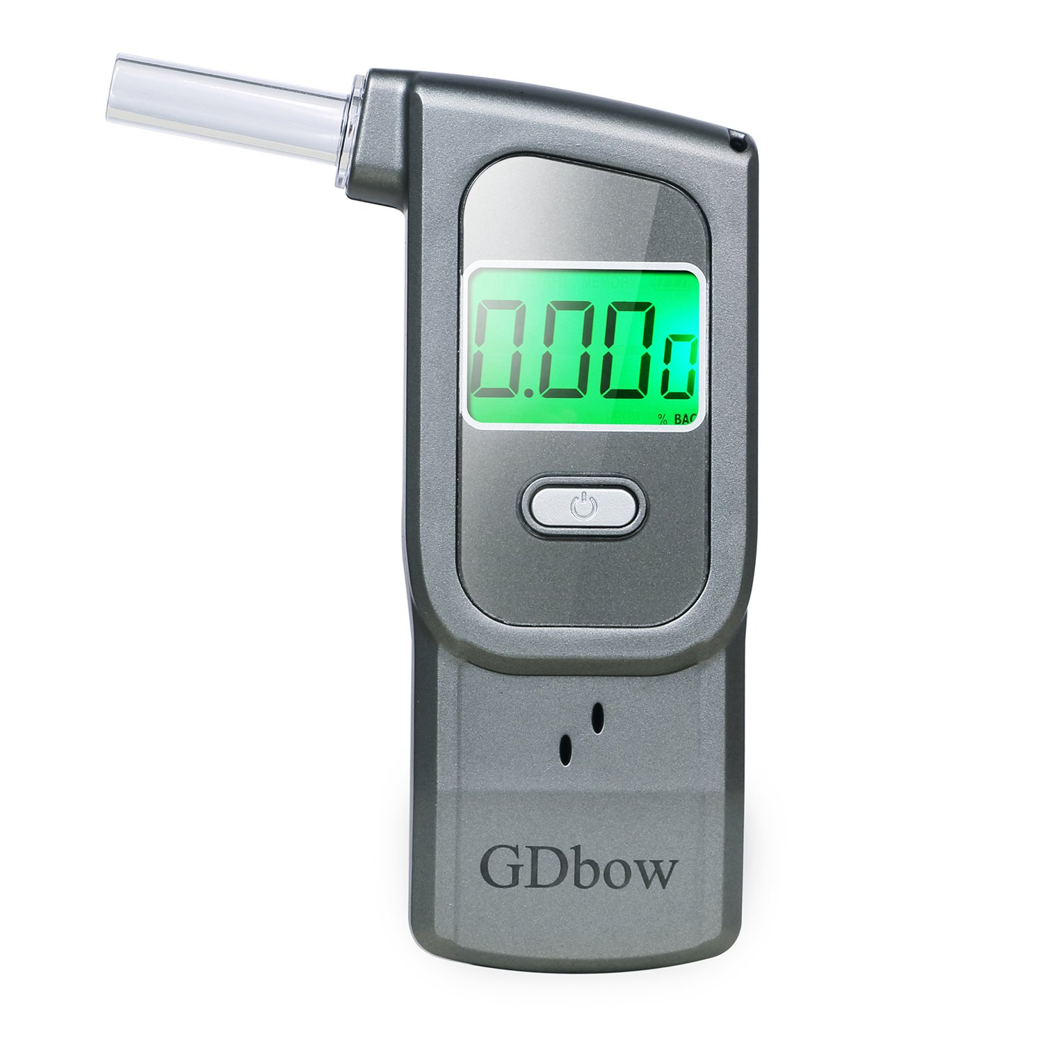 GDbow Portable Breathalyzer Alcohol Tester Recording 32 Testing Results with 5 Mouthpieces for Personal Use -Lead