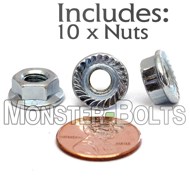 (25) 6mm/M6-1.00 - Hex Serrated Flange Locknuts Zinc Alloy Steel Class 8 RoHS - DIN 6923 Metric Nuts Coarse - MonsterBolts (25, M6-1.0)