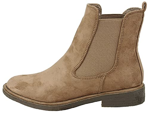 Amazon.com | JJF Shoes Women Western Faux Suede Low Heel Slip On Elastic Gore Chelsea Ankle High Booties | Ankle & Bootie