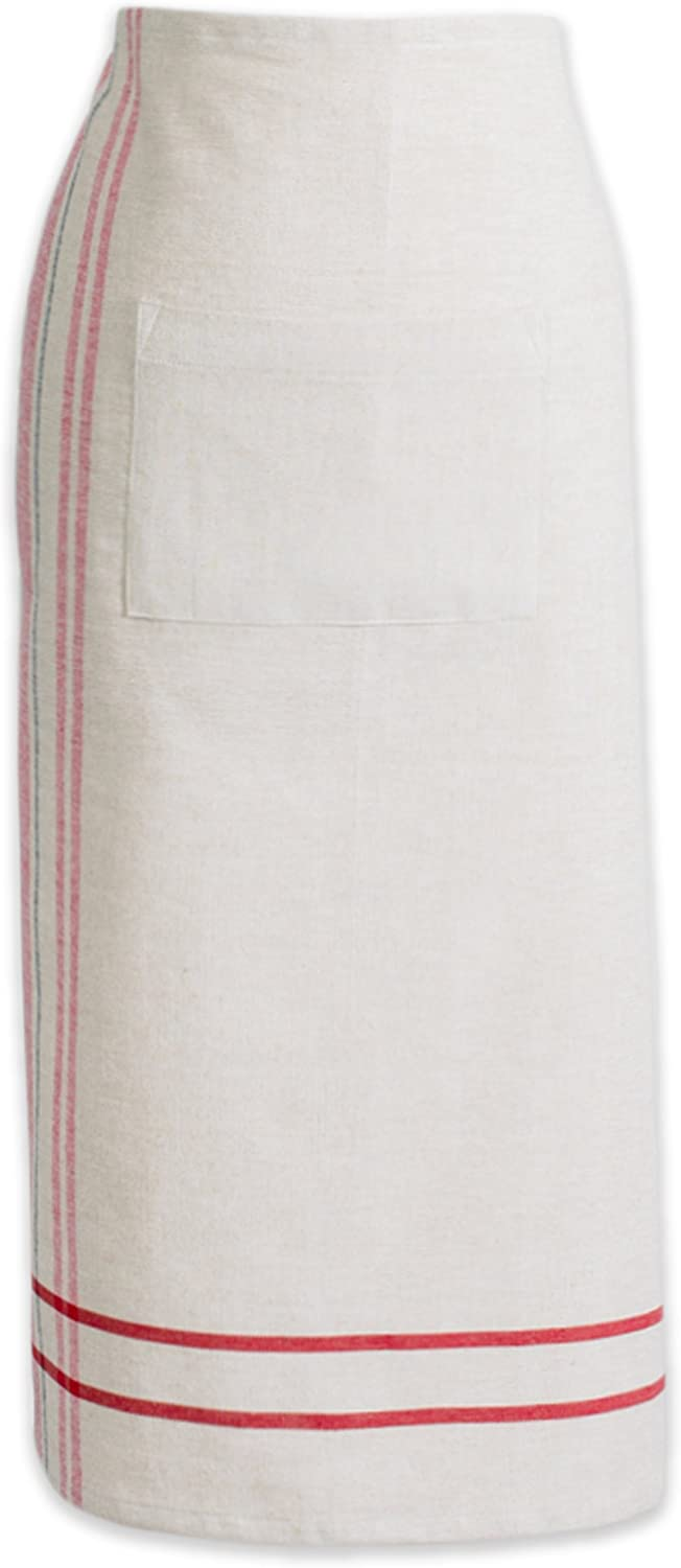 """DII Cotton French Stripe Bistro Half Waist Apron with Pocket and Extra Long Ties, 30 x 28"""", Cooking, Baking Apron, Uniform for Bartender, Waiter, Waitress, Coffee shop, Restaurant-Red"""