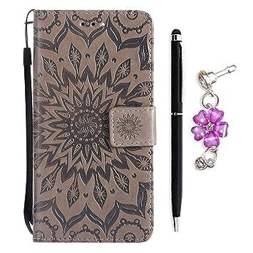 OnlyCase Funda Huawei Y625, Carcasa Flip Suave PU Cuero Notebook Billetera Relieve Girasol Patrón Diseño con Magnético Soporte de Tarjeta - Gris